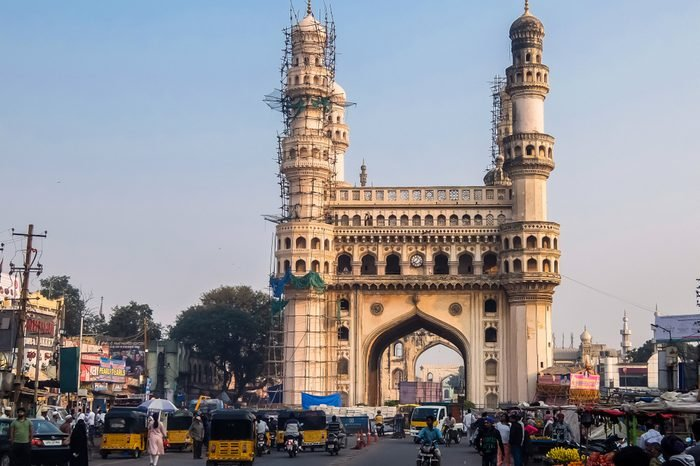 """Hyderabad, India - January, 4th, 2018. View of Charminar (""""Four Minarets""""), constructed in 1591, is a monument and mosque located in Hyderabad, Telangana, India."""