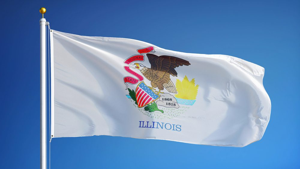 Illinois (U.S. state) flag waving against clear blue sky, close up, isolated with clipping path mask alpha channel transparency, perfect for film, news, composition