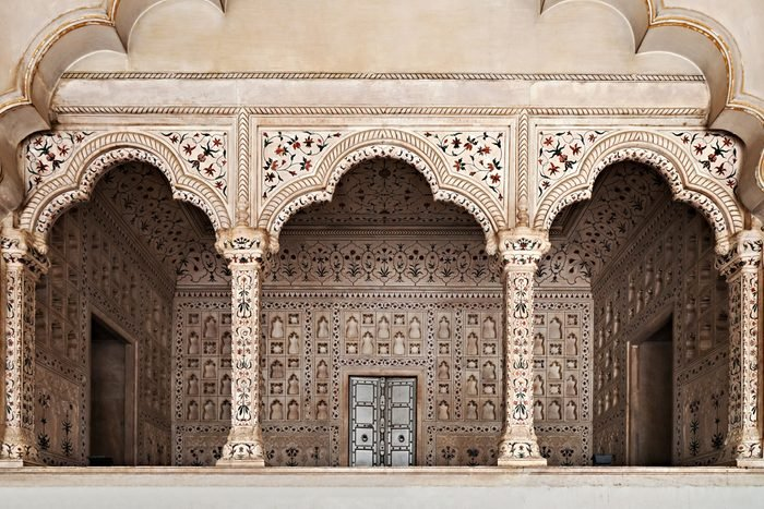 Many arches inside Red Fort, Agra, India