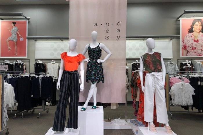 """JUNE 13 2018 - CRYSTAL, MN: Display inside of a Target retail store shows the new women's clothing """"fast fashion"""" brand A New Day on mannequins."""