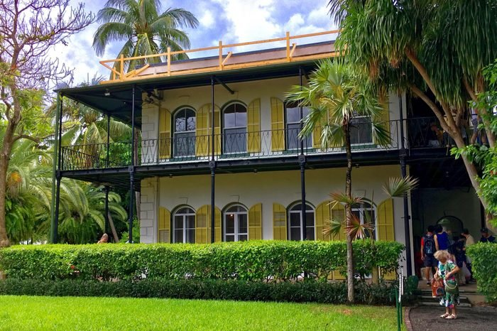 Key West, Florida, USA - July 20, 2016: The Ernest Hemingway House with garden in Key West in Florida