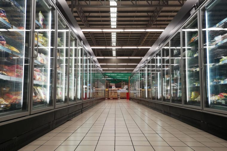 Kota Kemuning, Malaysia - 16 June 2018 : The frozen food aisle in a supermarket in Kota Kemuning, Malaysia.