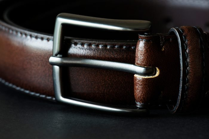 Closeup of leather belt style