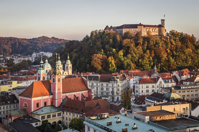 "Ljubljana castle, Slovenia as seen from ""Skyscraper"" direction."