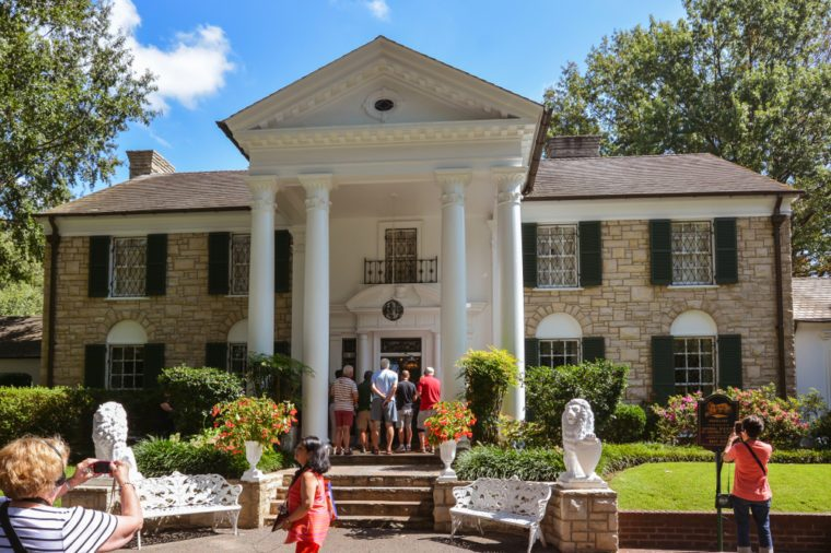Memphis TN/USA - Sep. 21, 2017: Tourists visit Elvis Presley's Graceland Mansion. The mansion had been placed on the National Register of Historic Places.