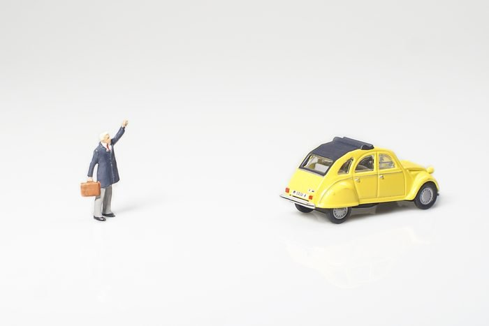 Miniature with taxi