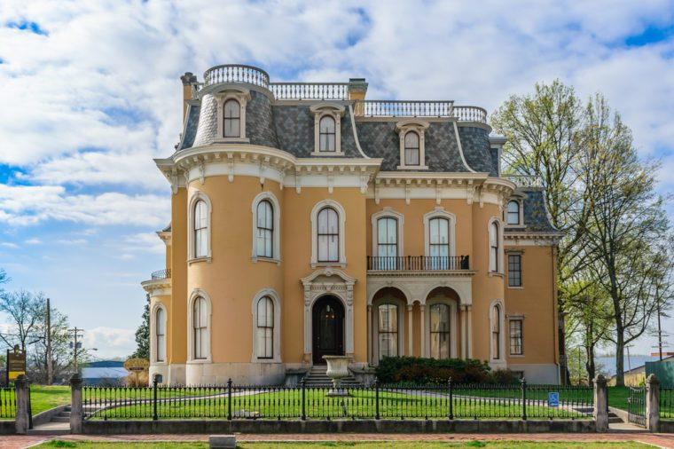 NEW ALBANY, INDIANA, USA - APRIL 5 2016: The Culbertson Mansion is located on Main Street in the Mansion Row Historic District.