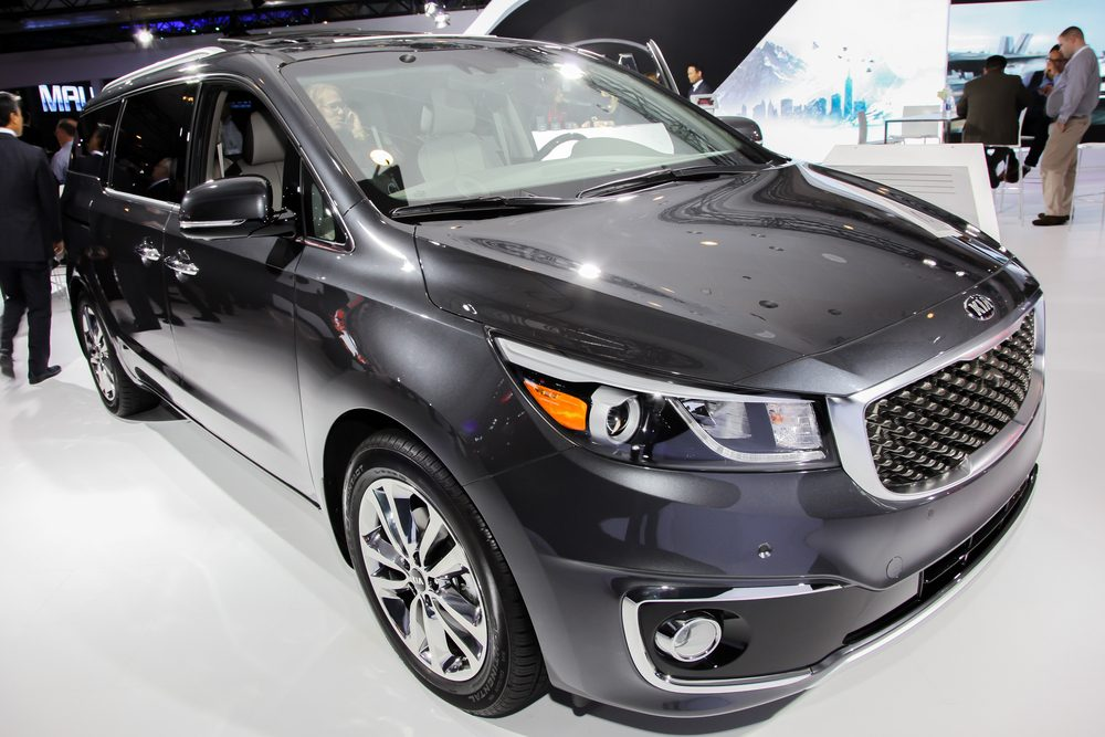 NEW YORK - APRIL 1: KIA exhibit KIA Sedona SXL at the 2015 New York International Auto Show during Press day, public show is running from April 3-12, 2015 in New York, NY.