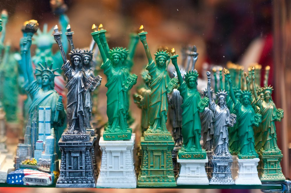 NEW YORK - DECEMBER 9: Statue of Liberty souvenirs at a store in New York on December 9, 2012. The Statue of Liberty is a symbol of USA. It was a gift from the people of France to the United States.