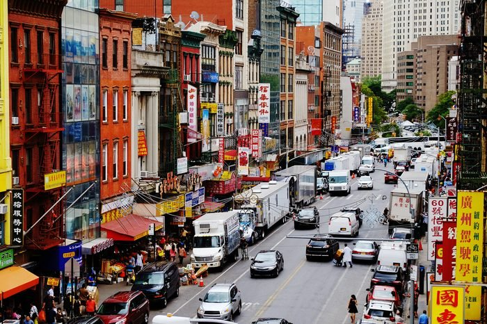 NEW YORK - JUNE, 2015: Aerial photo of one of the main streets in Chinatown in New York City, USA.