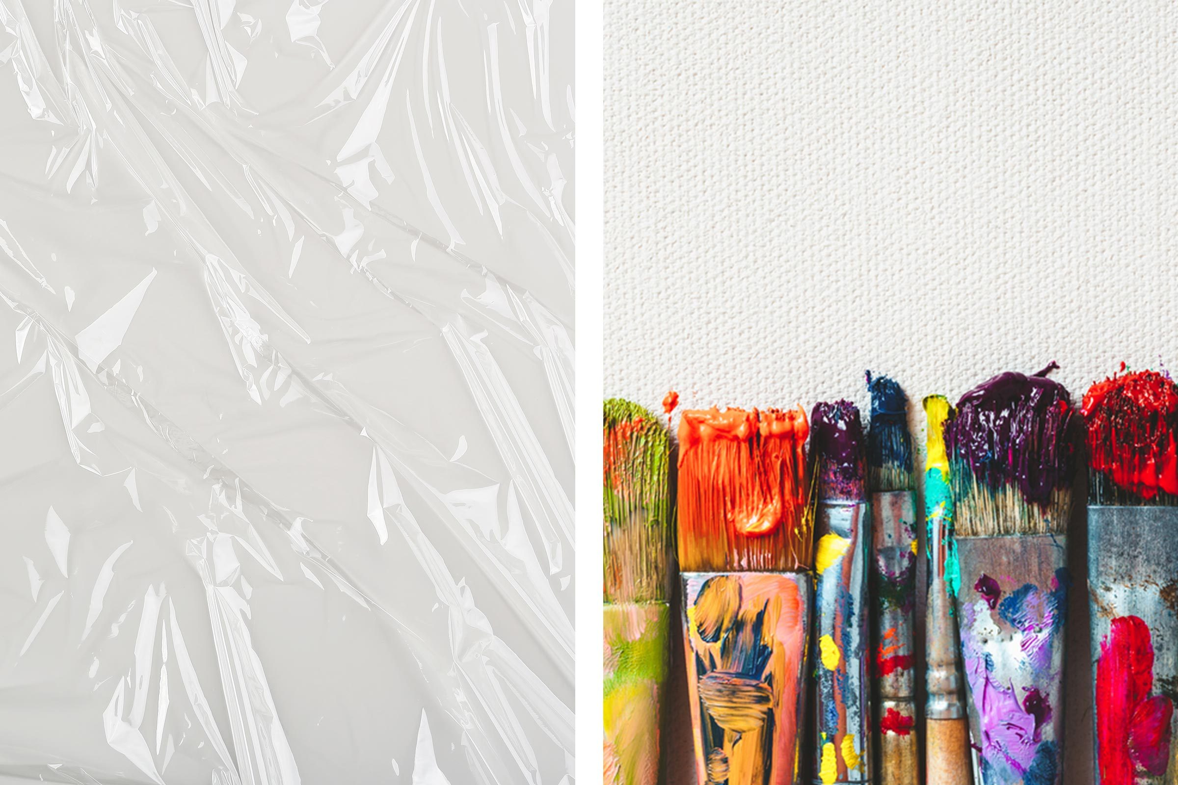 plastic wrap paint brushes