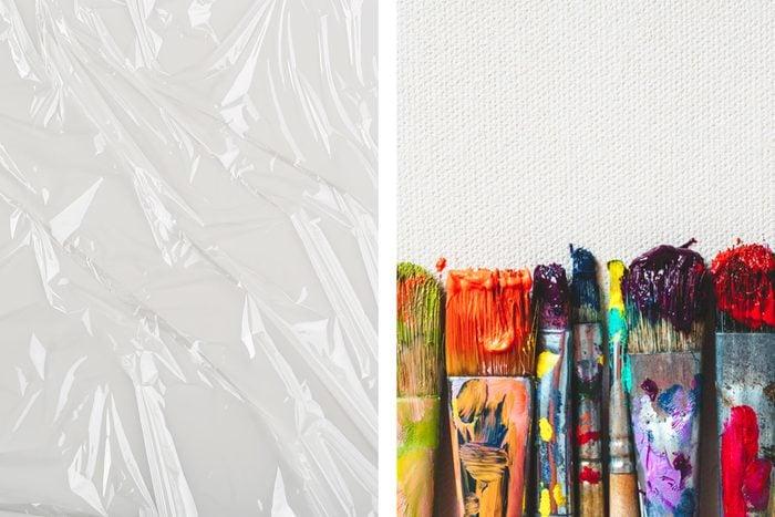 plastic wrap paint brushes