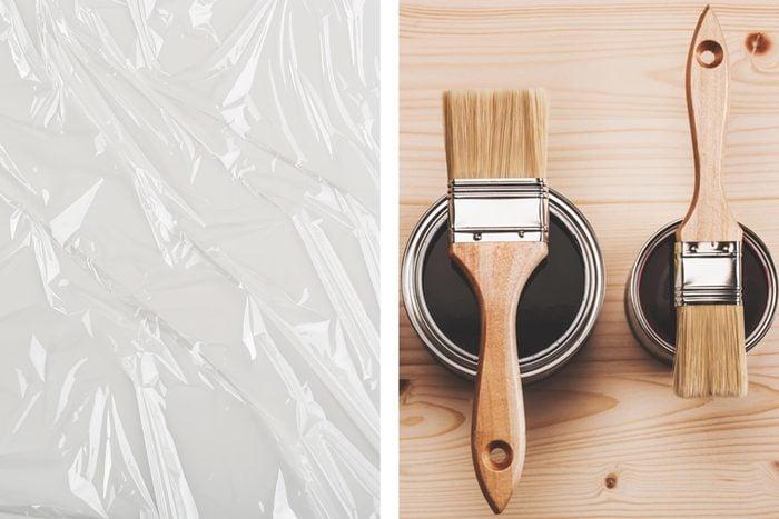plastic wrap paint brushes cans