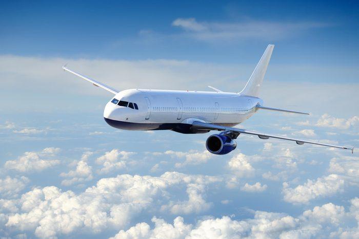 airplane clouds sky