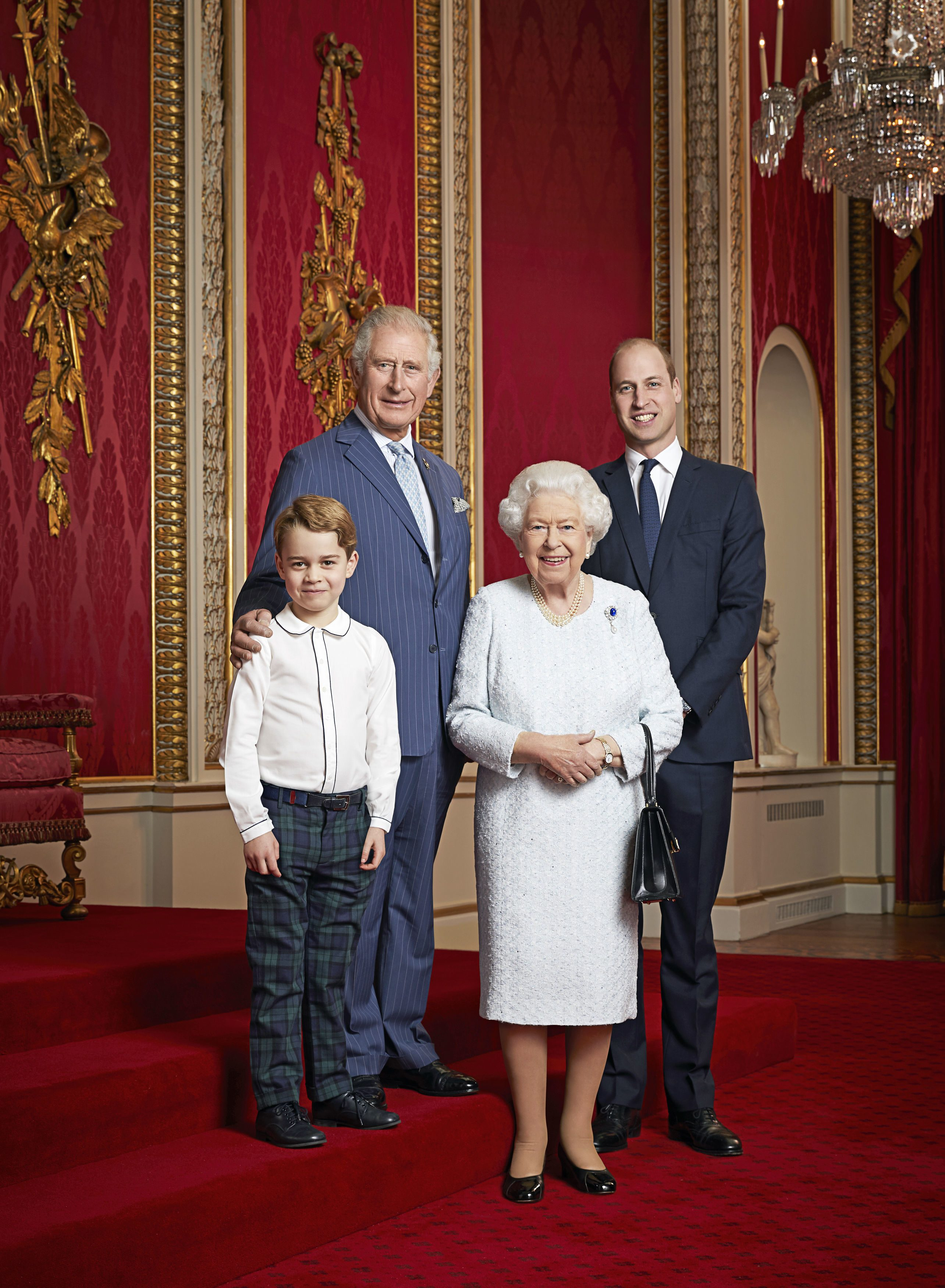 Prince George, Prince Charles, Queen Elizabeth II and Prince William Royal Family Portrait