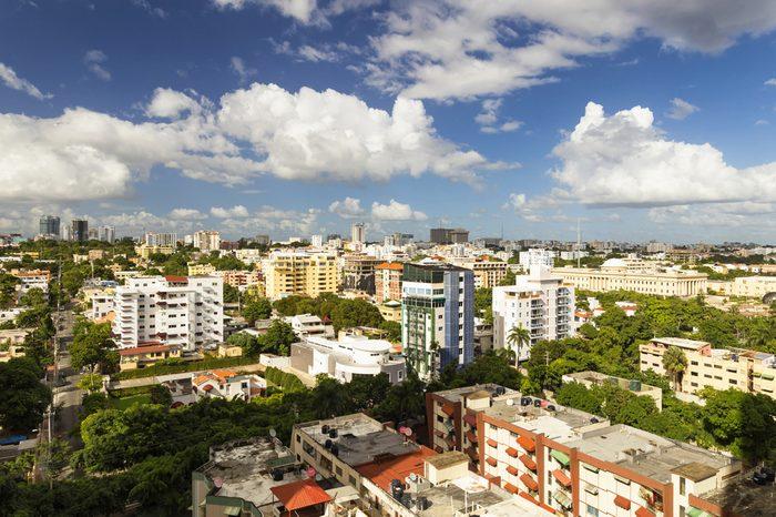 SANTO DOMINGO - DOMINICAN REPUBLIC - December 25, 2016: Aerial view of Santo Domingo city Dominican Republic