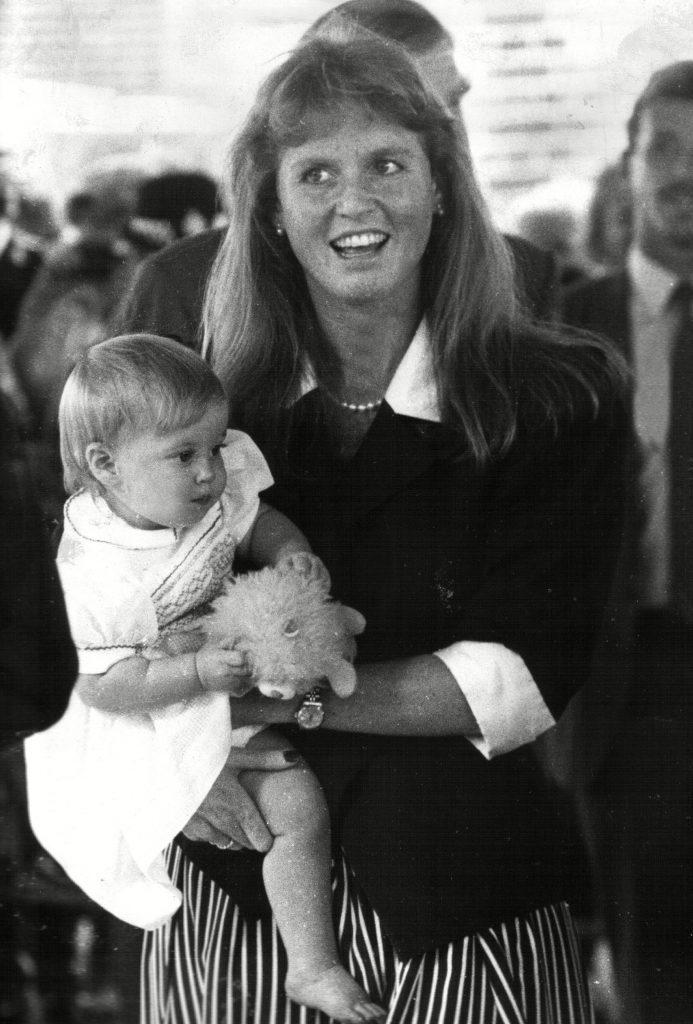 Sarah Ferguson, Duchess of York with daughter Princess Beatrice, UK - 1989