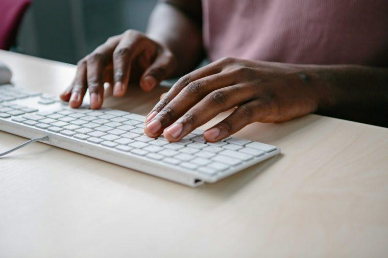 Hands on keyboard.
