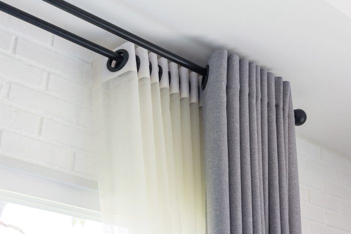The white curtains with ring-top rail, Curtain interior decoration in living room