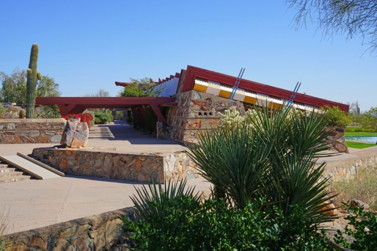 SCOTTSDALE, AZ -23 FEB 2018- View of Taliesin West, the landmark winter home and school in the desert of famed architect Frank Lloyd Wright located in Scottsdale, Arizona.