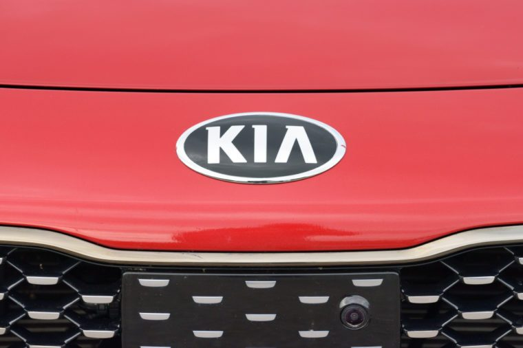 Vilnius, Lithuania - May 18: Kia Motor logotype on a car on May 18, 2018 in Vilnius Lithuania. Kia Motor Corporation is South Koreas second-largest automobile manufacturer