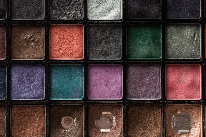old eye shadow on the stone background