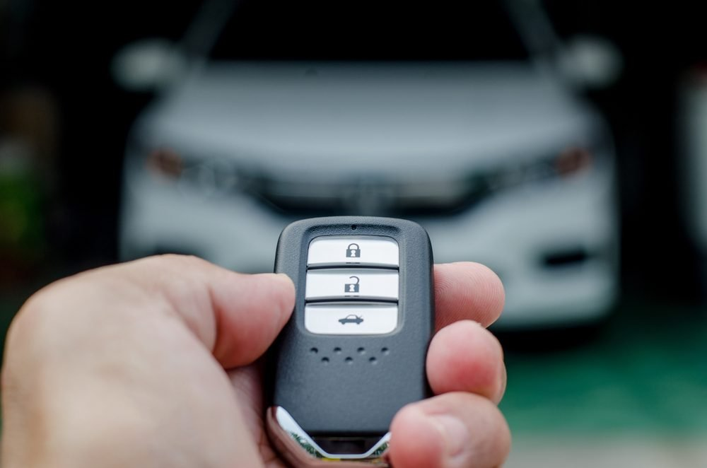 Car key fob unlocking the car