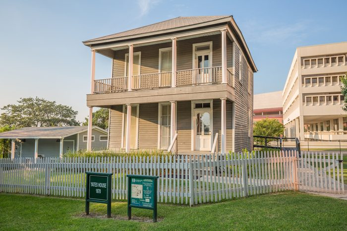 HOUSTON, TEXAS - August, 2018: Yates House in historical Sam Houston Park near Downtown Houston, Texas