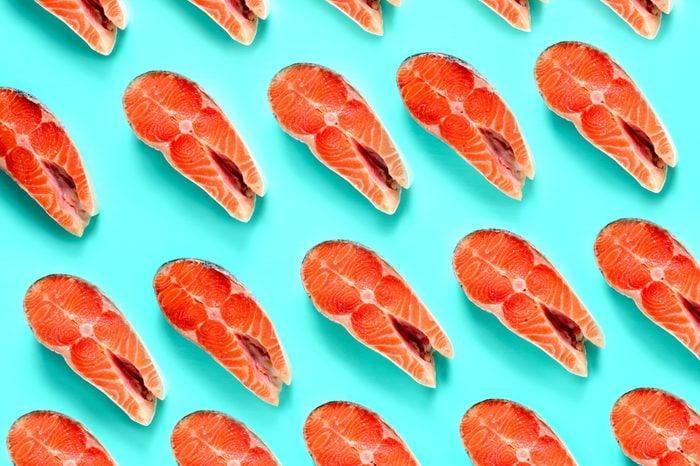 Salmon steak pattern, conceptual salmon background, flat lay composition