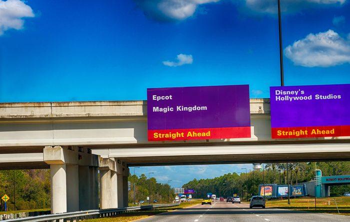 disney purple traffic signs
