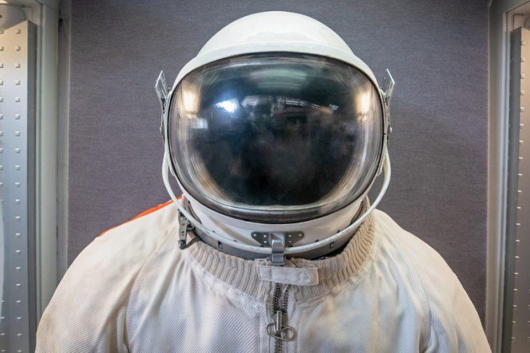 Soviet cosmonaut or astronaut or spaceman suit and helmet, close up