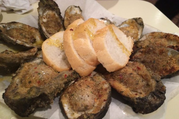 Grilled oysters in New Orleans French Quarter