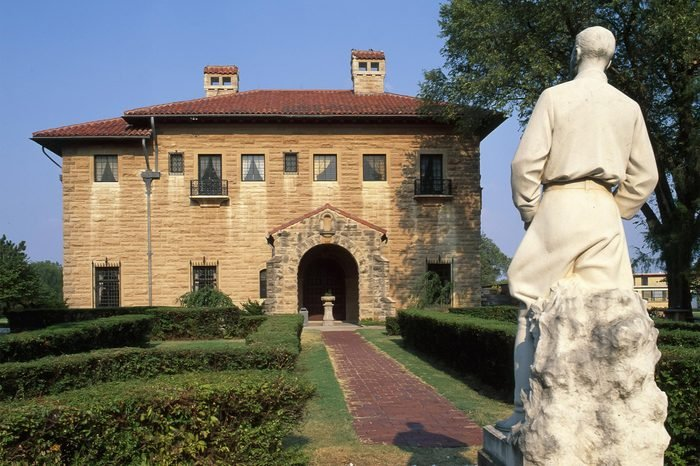 Marland Mansion in Ponca City, OK. Statue by the front entrance.