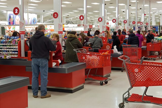 Target retail store busy cash register check out counters wait on customers, Saugus Massachusetts USA, January 19, 2019