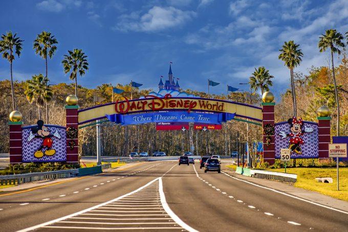 Orlando, Florida. January 11, 2019 Entrance Arch of Walt Disney Theme Parks at Lake Buena Vista area .