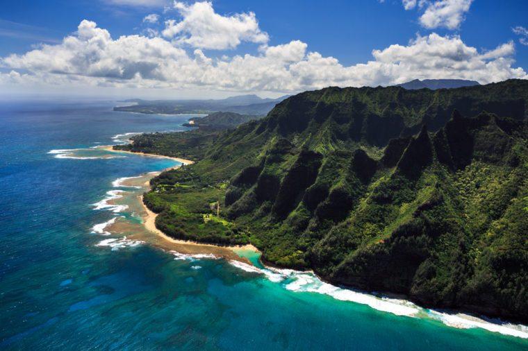 Aerial View of beach and reef system on the Hawaiian Island of Kauai