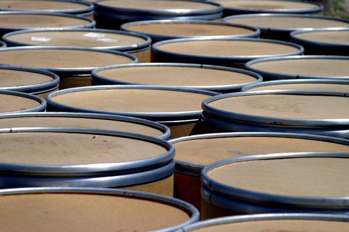 Group of shipment barrels.