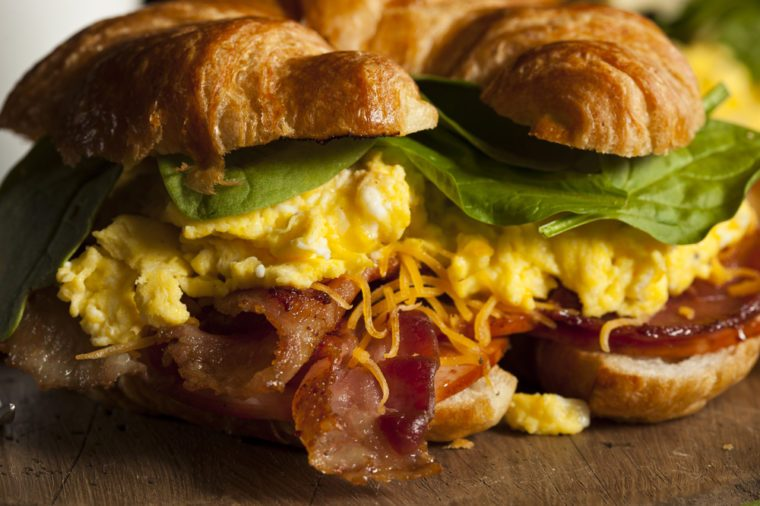 Ham and Cheese Egg Breakfast Sandwich on a Croissant