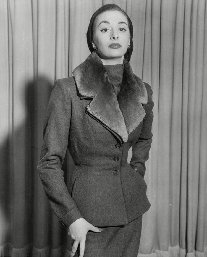 Fashion Women 1952 Model Wearing Various Fur Fashions.