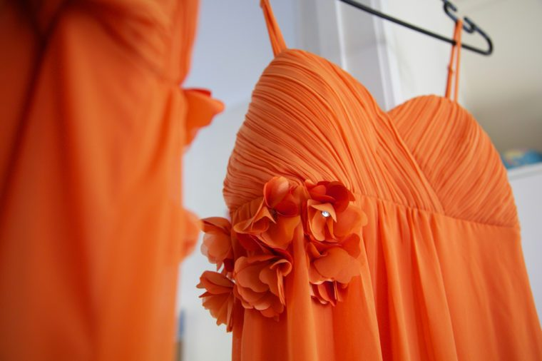 Bridesmaids dresses hanging.