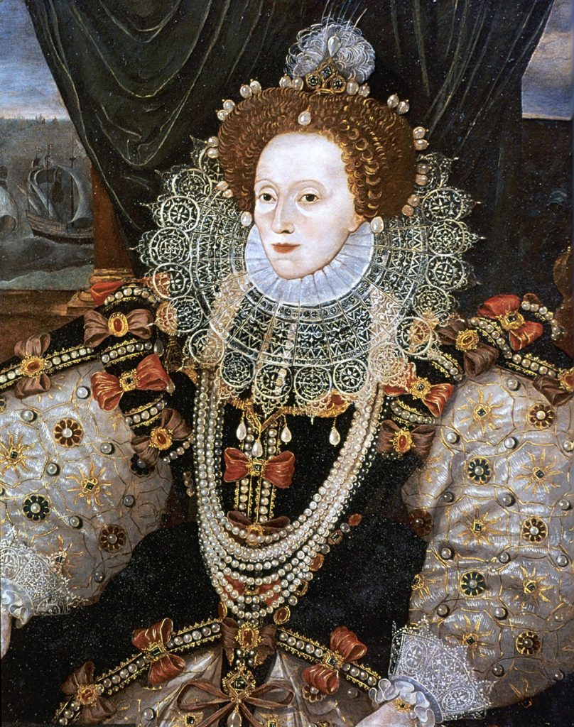 History Elizabeth I (1533-1603) Queen of England and Ireland from 1558, last Tudor monarch. Version of the Armarda portrait attributed to George Gower c1588.