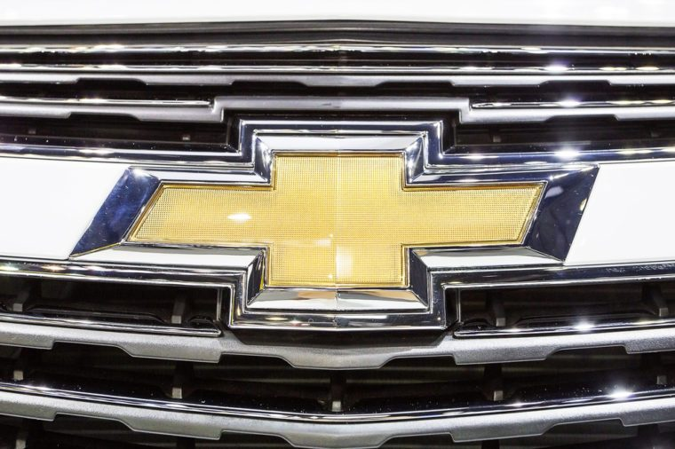 Bangkok - December 28 :close up logo of Chevrolet on front grill - in display at Thailand international motor expo 2014 on December 28, 2014 in Bangkok Thailand
