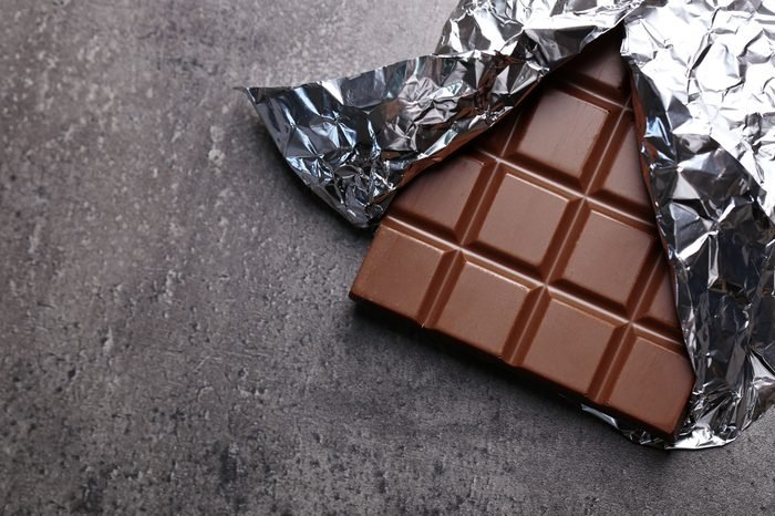 Chocolate bar in foil on gray background