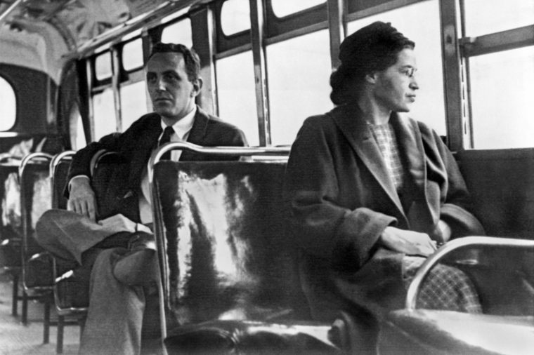 VARIOUS Montgomery, Alabama: 1956. Rosa Parks seated toward the front of the bus in Montgomery, Alabama.
