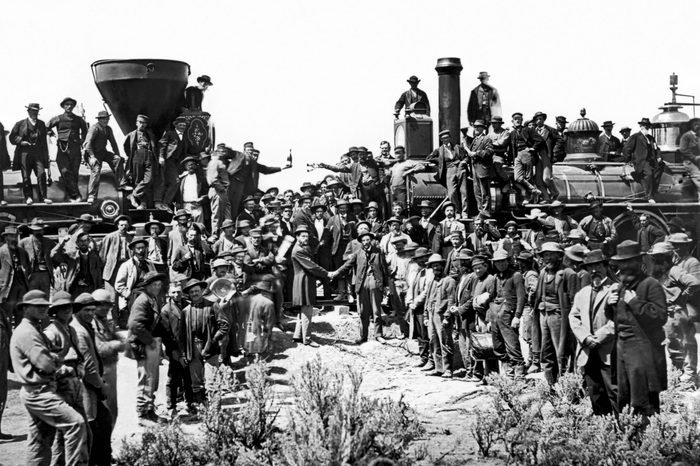 VARIOUS Promontory Point, Utah: May 10, 1869. Completion of the first transcontinental railroad with the Central Pacific Railroad coming from Sacramento, and the Union Pacific Railroad building out from Chicago. The two railroads started the project six years earlier, in 1863.