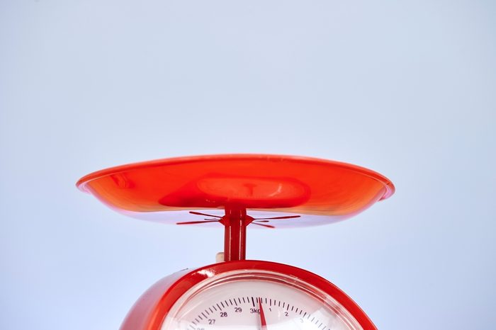 A studio photo of a set of kitchen food scales
