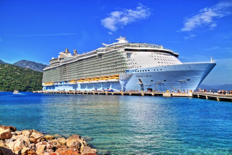 Labadee, Haiti, May 23, 2016: Royal Caribbean, Oasis of the Seas docked in Labadee, Haiti. One of the largest passenger ship ever constructed. HDR image.