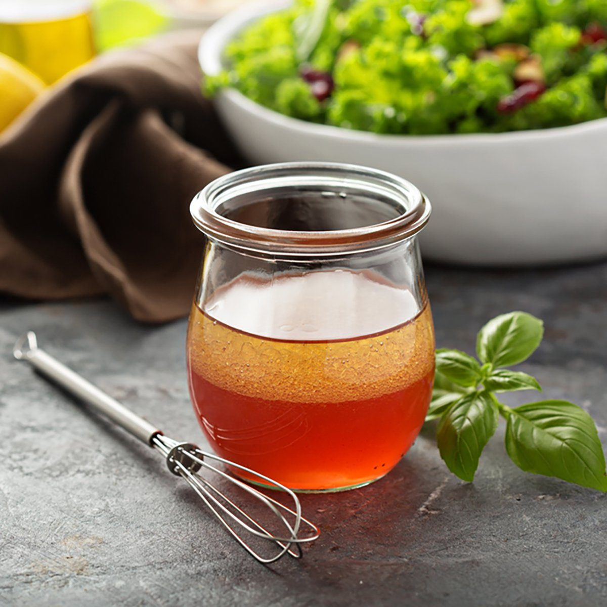 Homemade salad dressing vinaigrette with raspberry and pomegranate juice