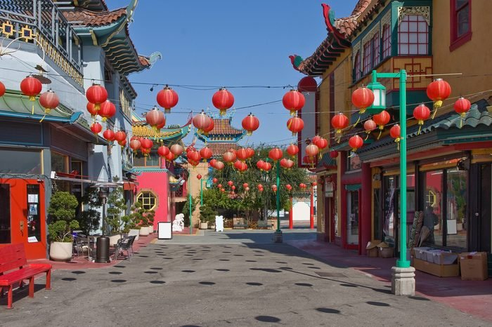 Street view of china town in Los Angeles, California, USA