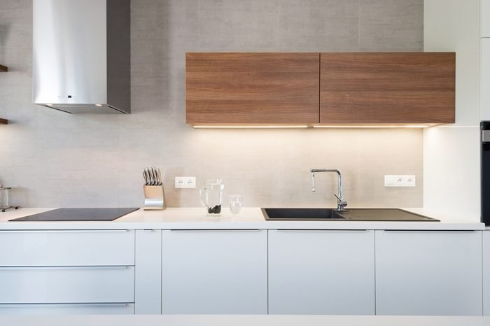 Modern kitchen interior with with built-in appliances
